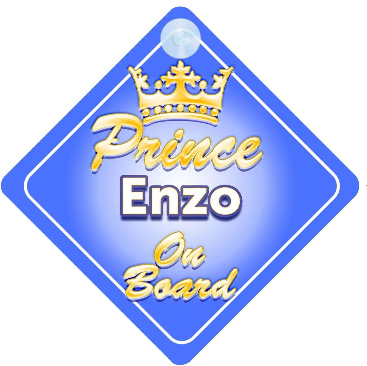 Crown Prince Enzo on Board Personnalis/é pour b/éb/é//enfant gar/çons voiture Panneau
