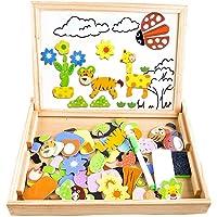 COOLJOY Puzzles Rompecabezas Magnéticos de Madera Juguete Educativo Tablero de Dibujo de Doble Cara para Niños Niña 3…