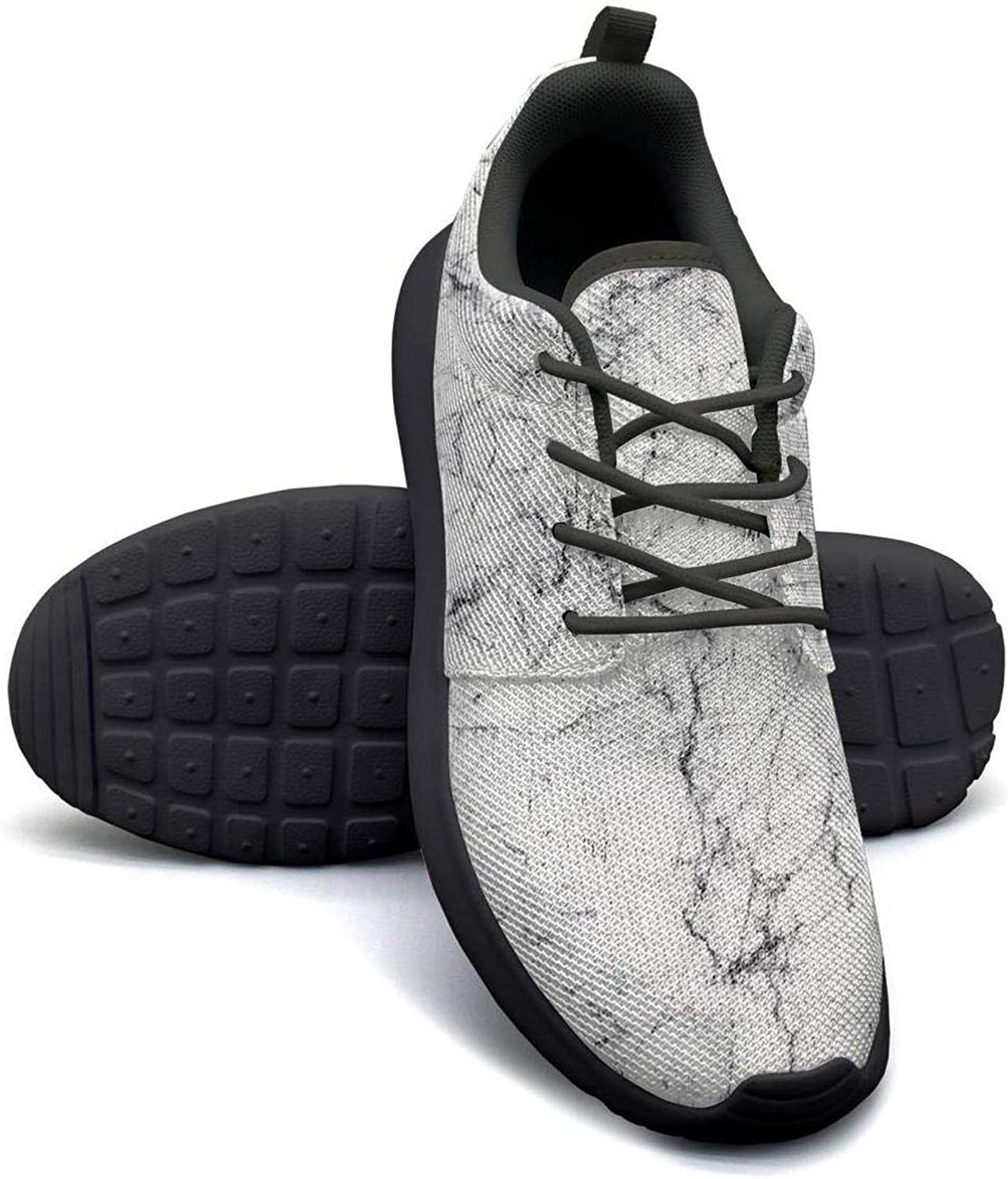 Hobart dfgrwe White Marble Abstract Texture Pattern Womans Skateboard Casual Shoes Cute Sneakers