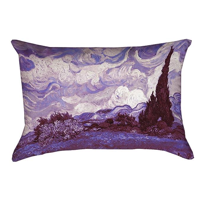 ArtVerse Vincent Van Gogh 16 x 16 Spun Polyester Purple Wheatfield with Cypresses Pillow