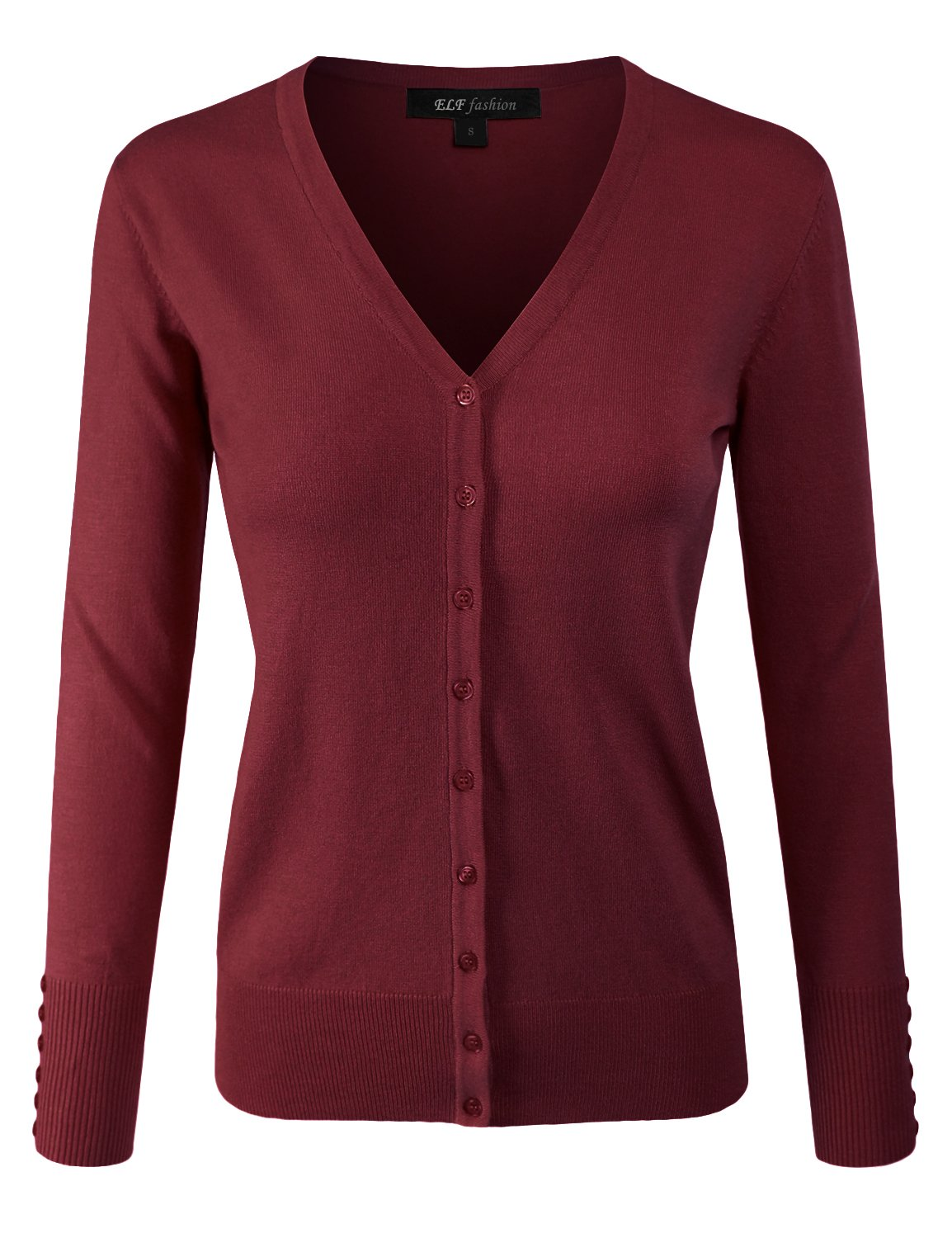 ELF FASHION Women Top Long Sleeve Button V-Neck Knit Sweater Cardigan (size S~3XL) WINE 1XL