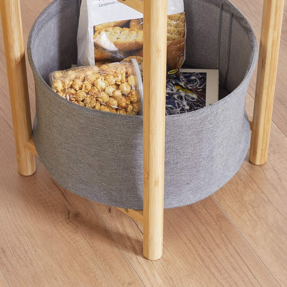 Color Gris Mesa Auxiliar Zen de bamb/ú con Cesta de Almacenamiento para Sala de Estar