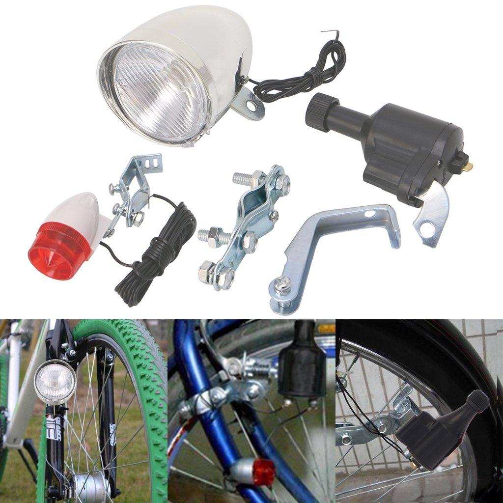 Aixia Bike light set Motorized Bike Friction Dynamo Generator Head Tail Light With Acessories