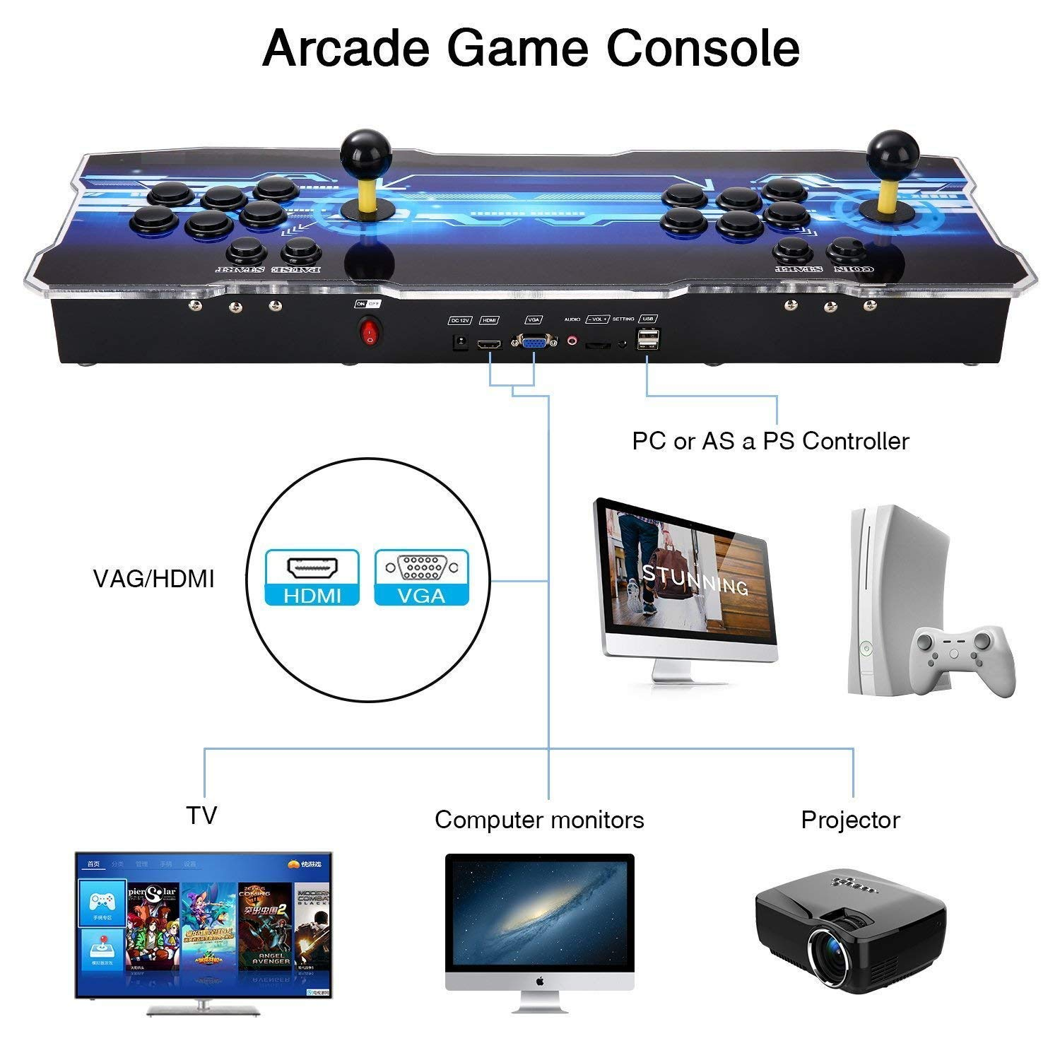 SeeKool Newest 3D Pandora X Arcade Game Console, 1920x1080 Full HD 4 Players Max Arcade Machine with 2200 Games, Support Extended TF Card& USB Disk to Enjoy More Games PC / Laptop / TV / PS3 by SeeKool (Image #3)