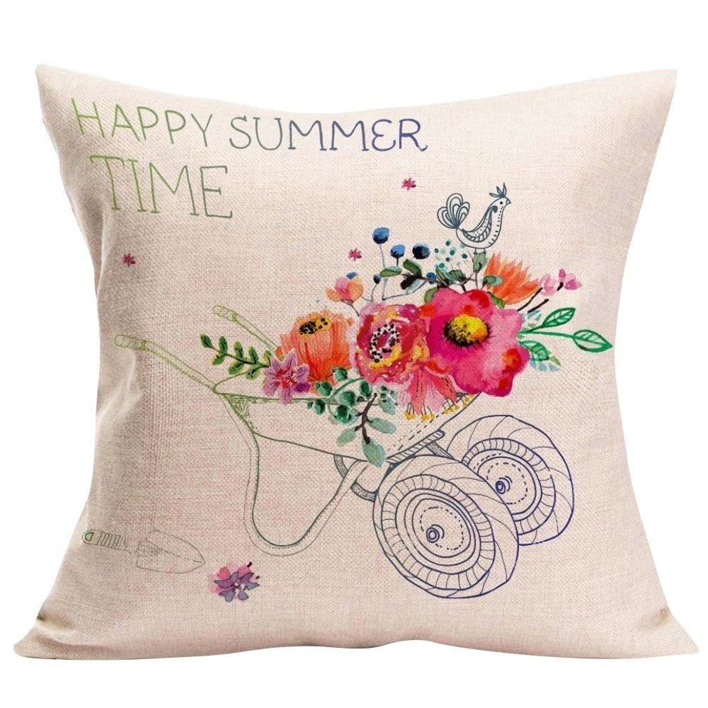 NPRADLA Decoración para el hogar Funda de cojín Happy Sunmer ...