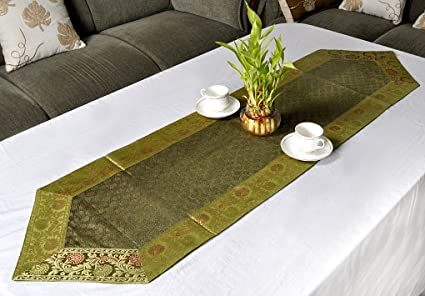 Home Decor Paisley Work Design Handmade Silk Table Runner 60 X 16 Inch  Green Color