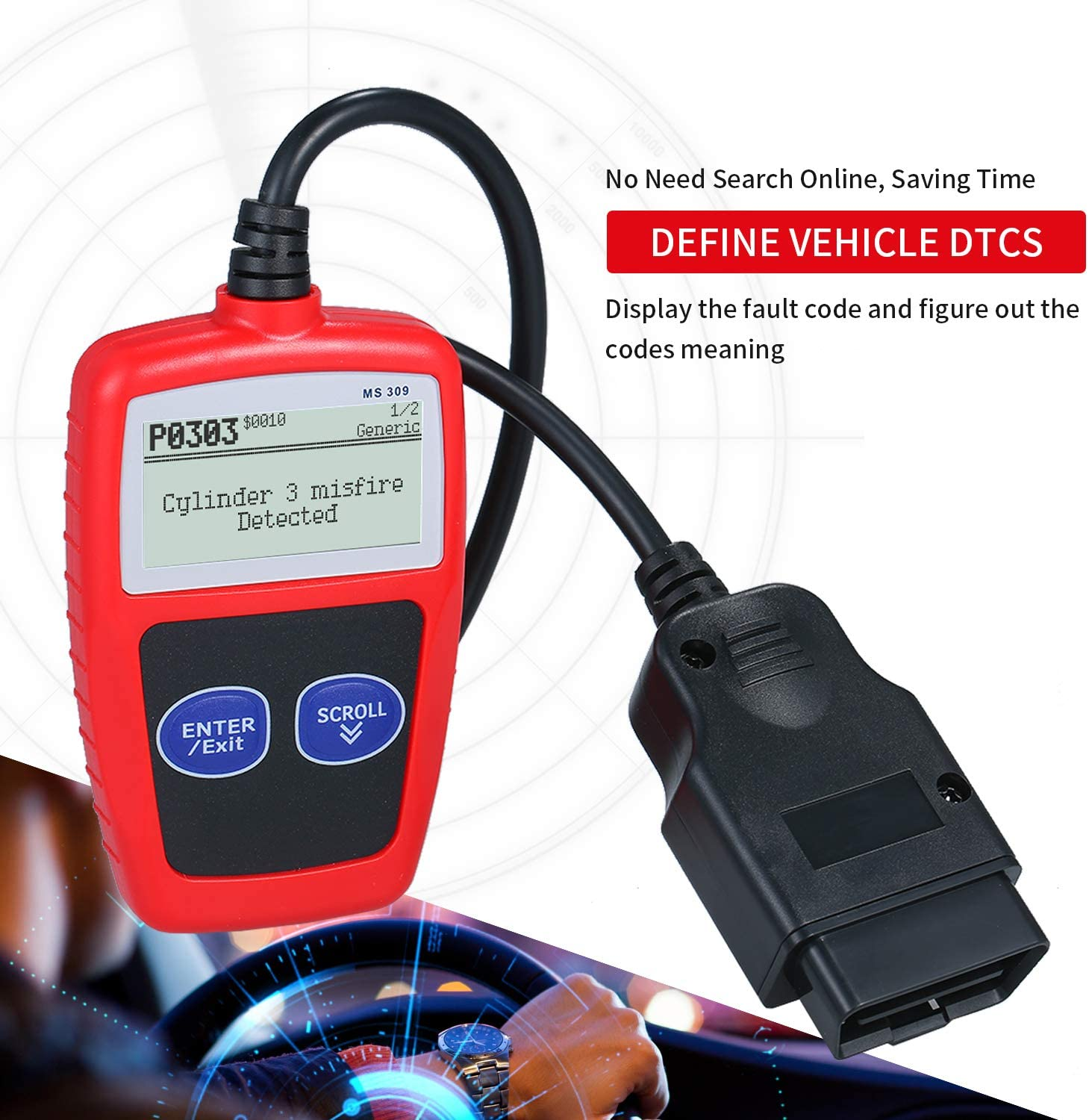 KK moon MS309 Universal O-B-D2 Scanner Automotive Engine Fault Reader CAN Diagnostic Scan Tool Work for US Asian European Cars