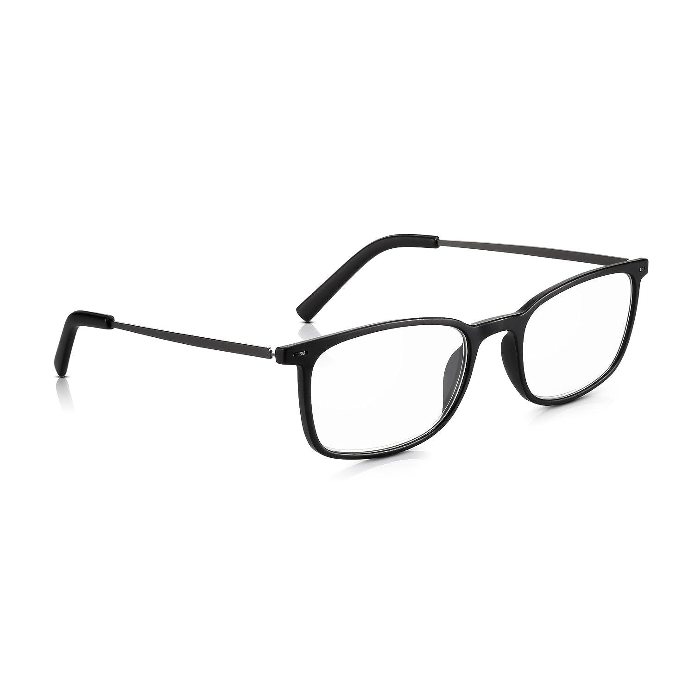 e75c707236e Read Optics +2.00 Non-Prescription Reading Glasses for Men Women  Classy  Wayfarer Style Specs in Polycarbonate Plastic Black Frames + Slim Metal  Arms. ...
