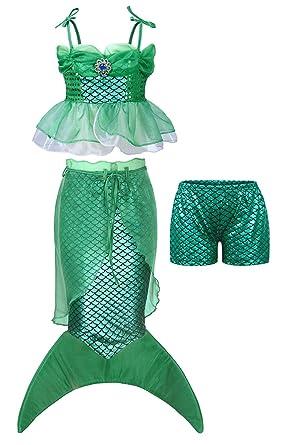 AmzBarley 4pcs Pequeña Sirena Traje Vestido Disfraz Sirenita Ariel ...