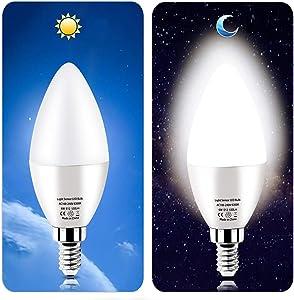 Dusk to Dawn Night Light Bulbs 6W E12 Light Sensor Bulb 6000K 60w Equivalent LED Bulb E12 LED Candelabra Bulb Base,Auto On and Off for Home,Outdoor,Yard Light,White (2 Pack)