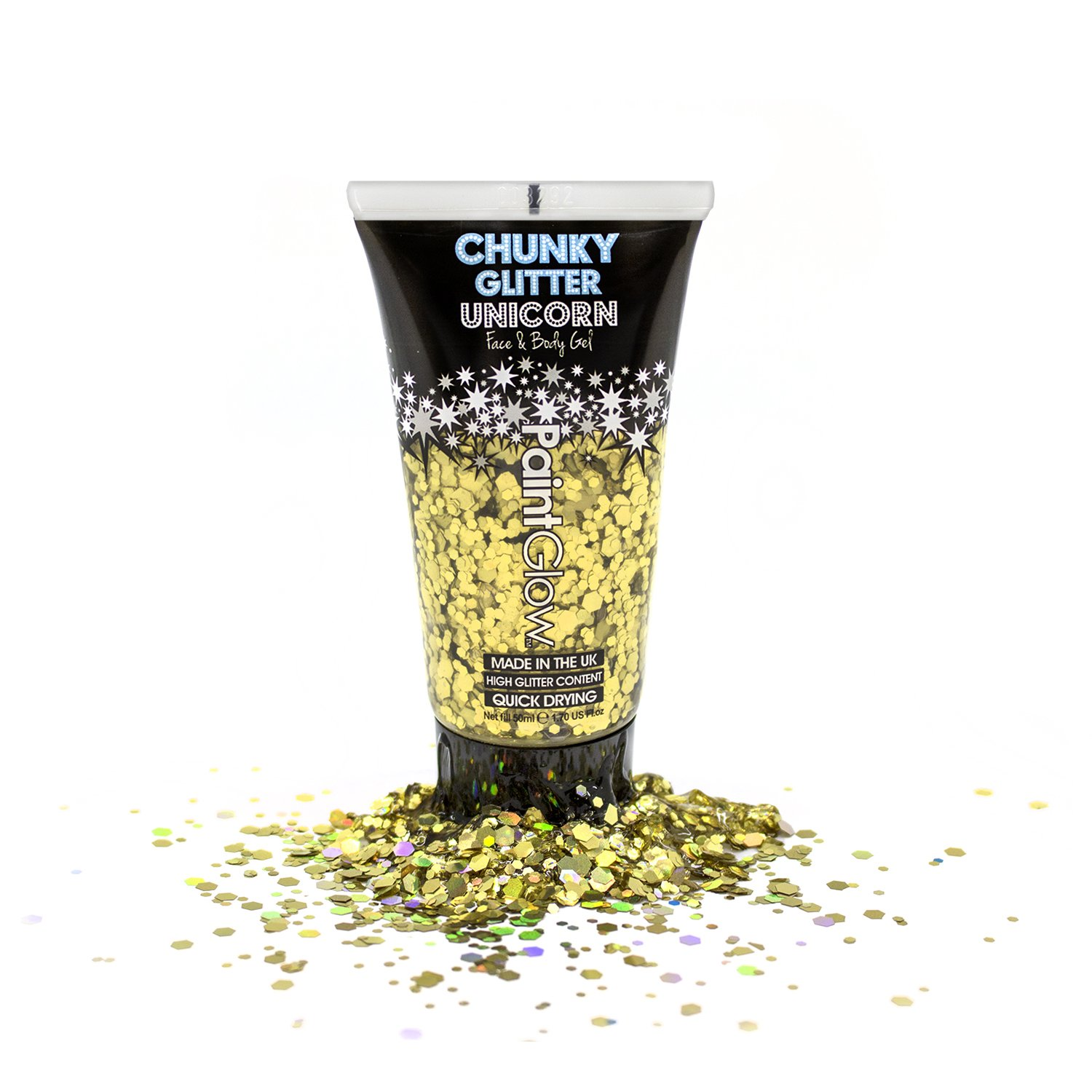 Chunky cosmetic glitter gels 50ml for face, body & hair from PaintGlow (Vegan) Festival glitter Body glitter DGG2R07