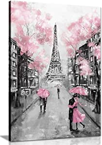 Pink Black & White Paris Painting Canvas Wall Art Picture Print (24x16)