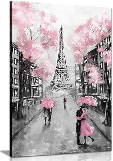 Pink Black White Paris Painting Canvas Wall Art Picture Print 36×24