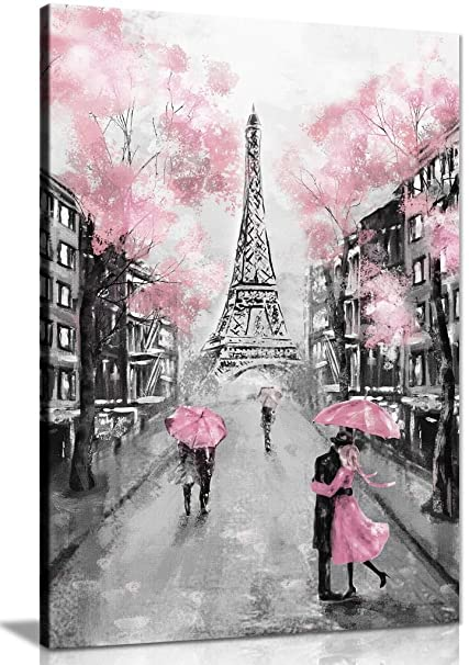 Pink Black White Paris Painting Canvas Wall Art Picture Print 24x16