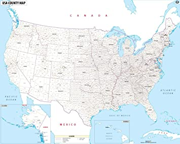 Amazon.com : USA Map with County Names - Laminated (60\