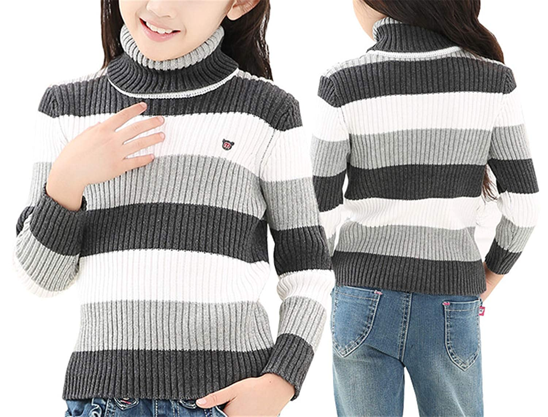 Gail Jonson Girls Sweater Winter Cotton Striped Toddler Girl Turtleneck Knit Pullover Knitwear