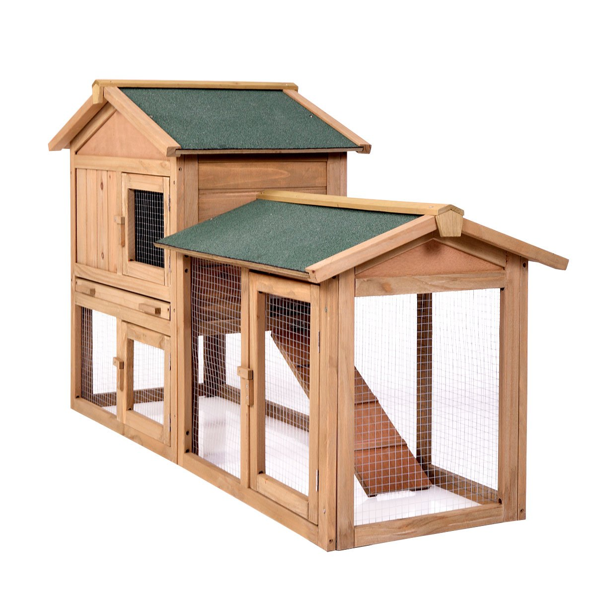 P PURLOVE Wood Bunny Hutch 54'' Large 2 Story Outdoor Bunny House with Removable Tray & Ramp, Backyard Garden Rabbit Cage/Guinea Pig House/Chicken Coop Nesting Box for Small Animals by P PURLOVE (Image #6)