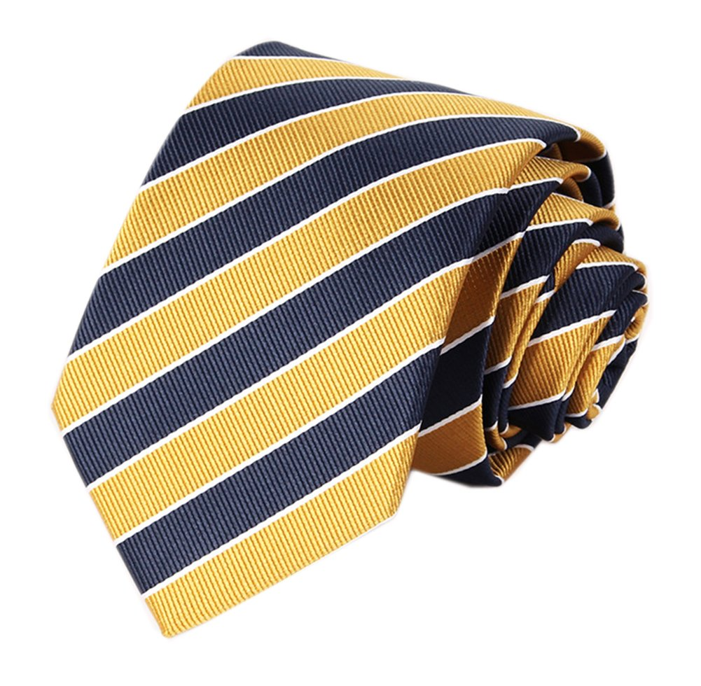 Men's Slim Yellow Navy Woven Polyester Ties Casual Party Wedding Uniform Necktie