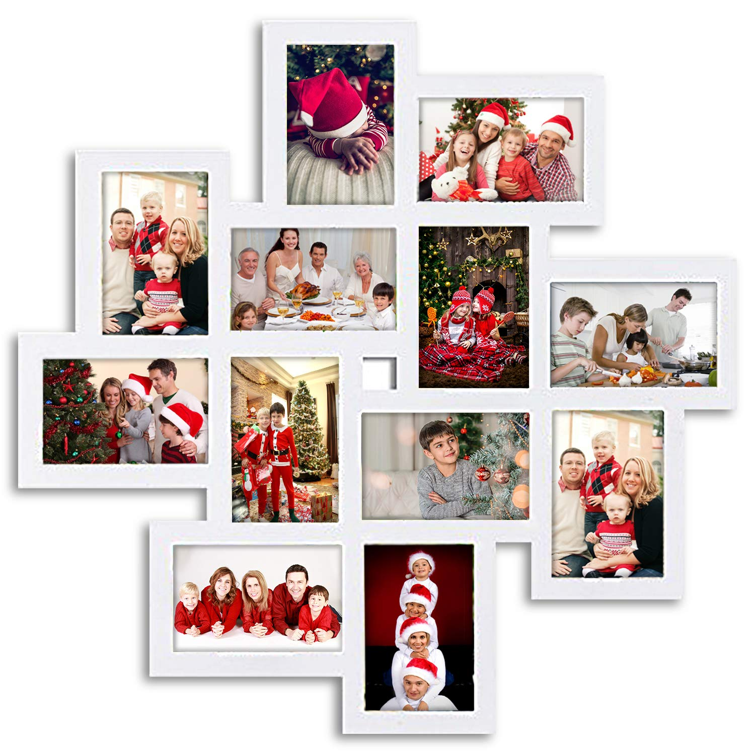 Jerry & Maggie - Photo Frame 24x24 Square Storm Eye White PVC Picture Frame Selfie Gallery Collage Wall Hanging for 6x4 Photo - 12 Photo Sockets - Wall Mounting Design by Jerry & Maggie