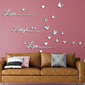 LASZOLA DIY Mirror Butterfly Wall Sticker Love Laugh Live Quotes Wall Decal, 3D Butterflies Heart Home Nursery Decor Art Murals Paper Decoration for Living Room Office Bathroom (Silver)