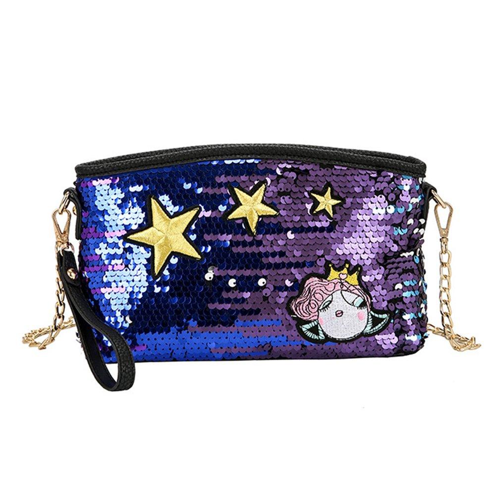 Women Glitter Sequins Crossbody Clutch Wristlet Envelope Handbag Shoulder Bag