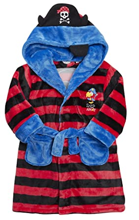 Boys LUXURY FLANNEL FLEECE Hooded Dressing Gown PIRATE Christmas Striped Red  Blue Black f904419b5