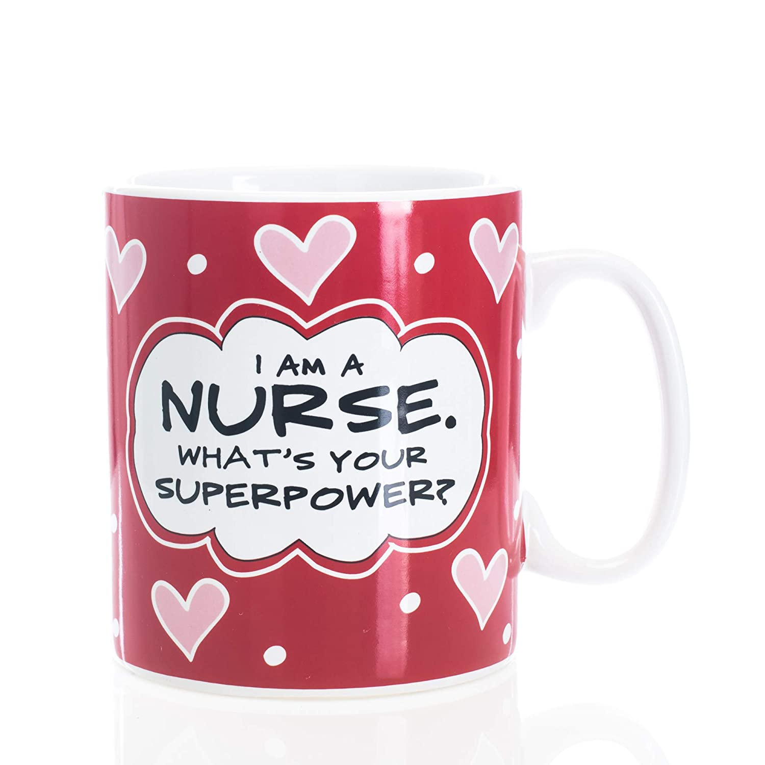 I Am A Nurse What's Your Superpower Red Heart 30 ounce Glossy Ceramic Mug