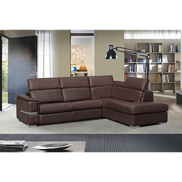 Chiara Full Leather Italian Sectional Sofa Bed Sleeper Right