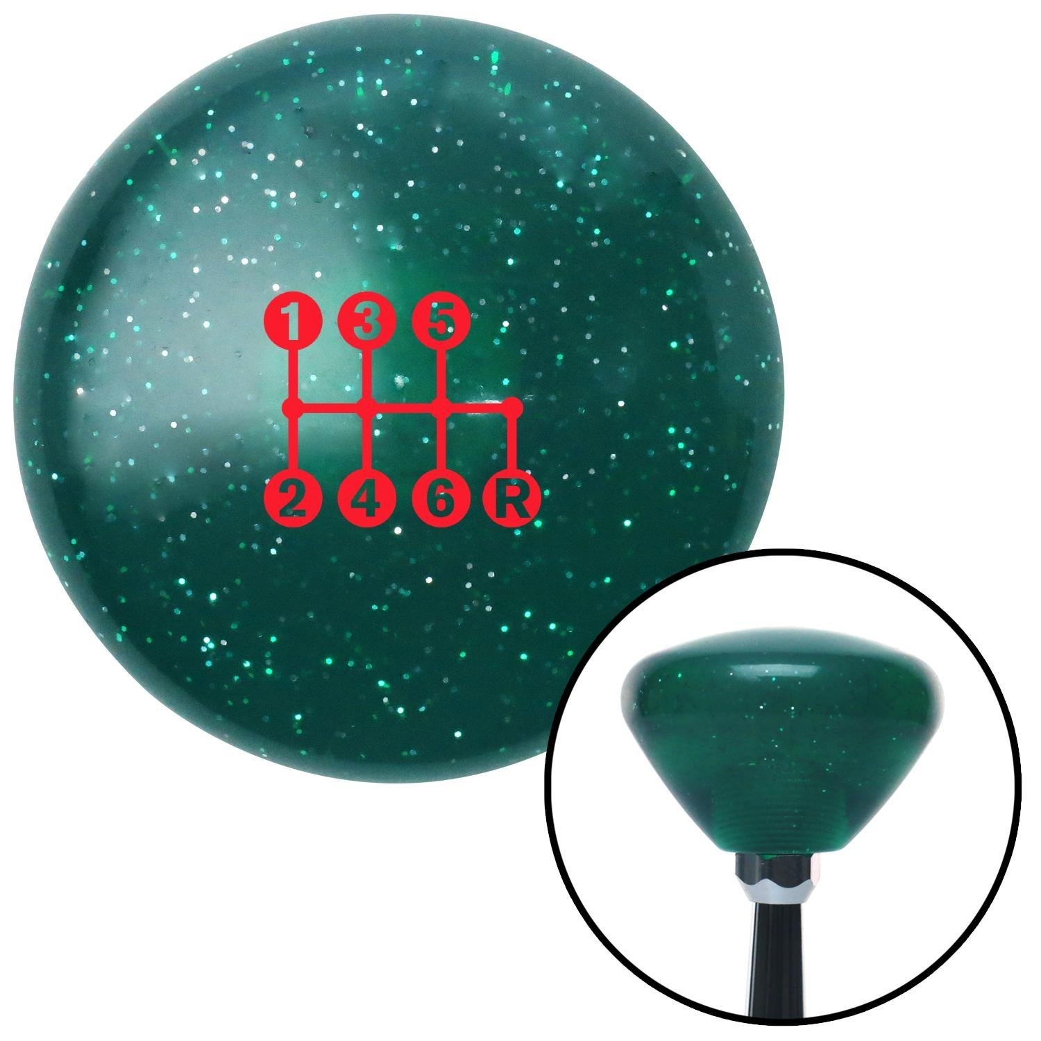 American Shifter 292293 Shift Knob Red 6 Speed Shift Pattern - Dots 41n Green Retro Metal Flake with M16 x 1.5 Insert