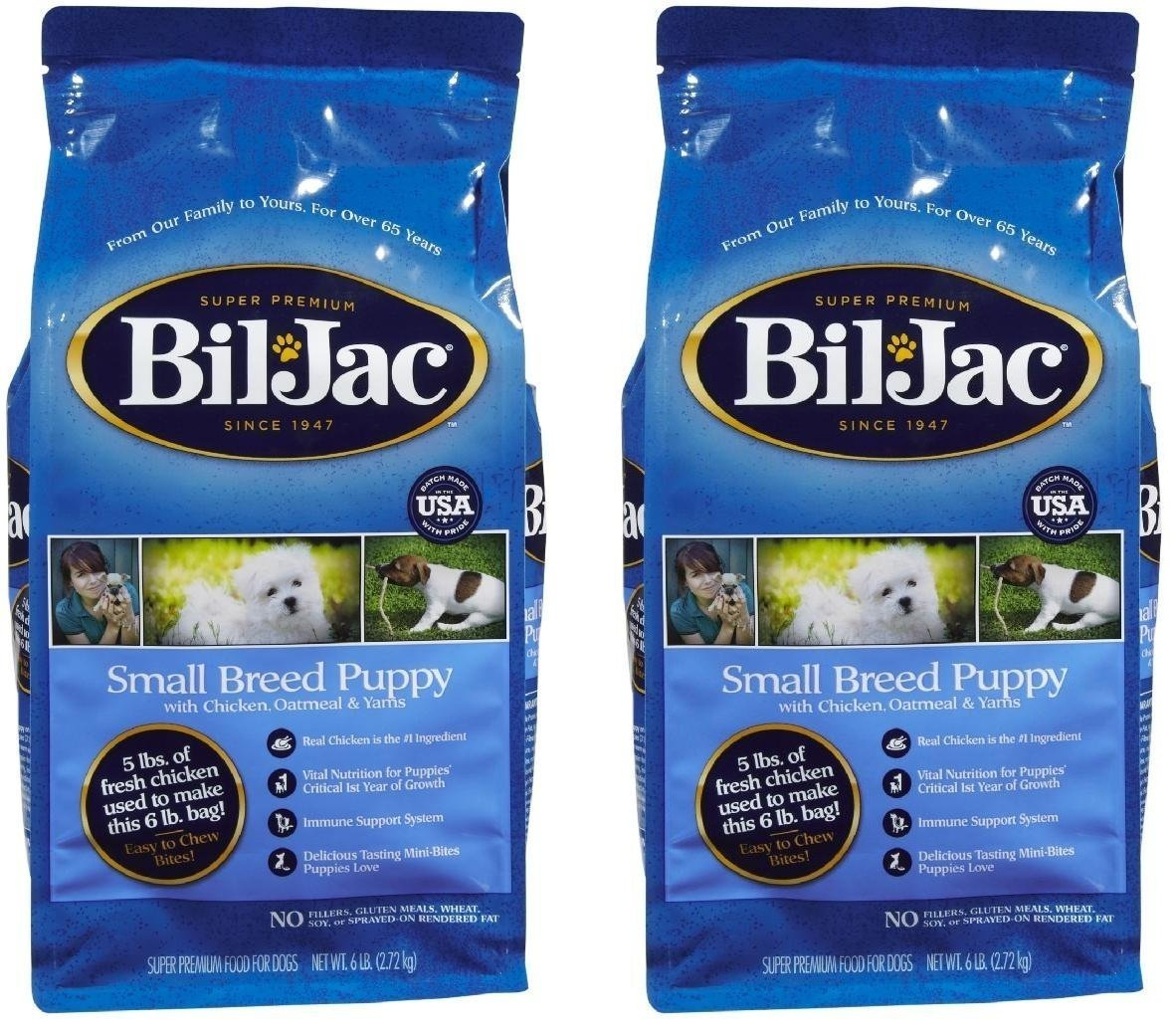 (2 Pack) Bil-Jac Small Breed Select Puppy Food - 6-Pound Bags