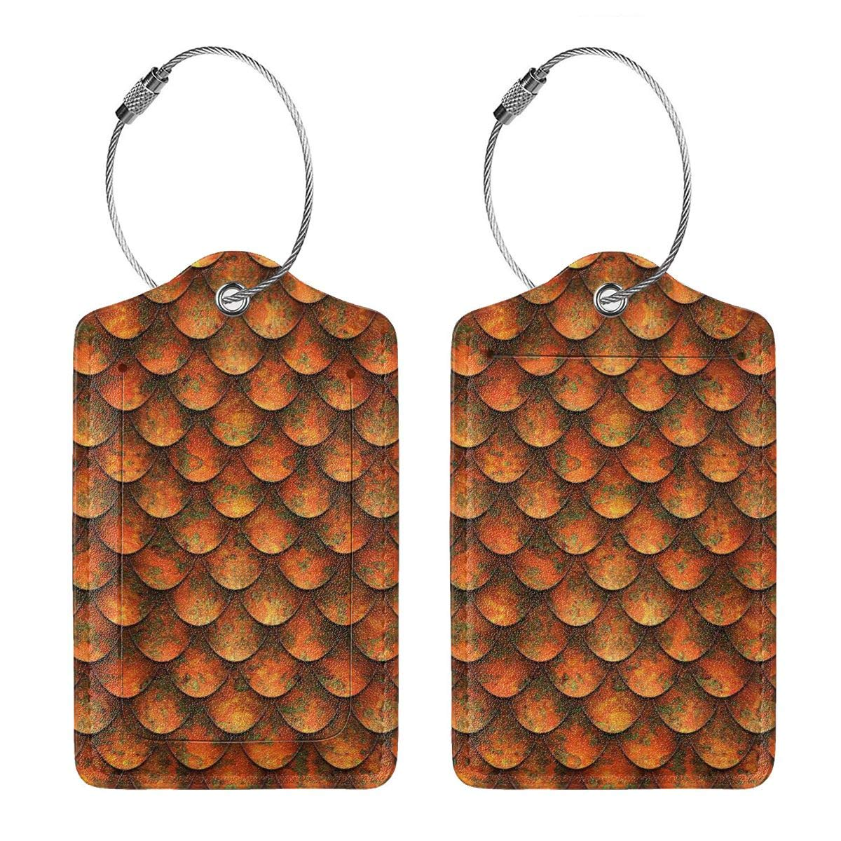 Dragon-Scale Leather Luggage Tags Personalized Privacy Cover With Privacy Flap