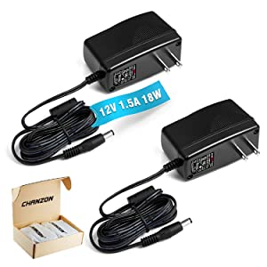[UL Listed] Chanzon 12V 1.5A 18W AC DC Switching Power Supply Adapter (Input 100-240V, Output 12 Volt 1.5 Amp, 6Ft Cord, 18 Watt) Wall Wart Transformer Charger for DC12V Security CCTV Camera (2-Pack)