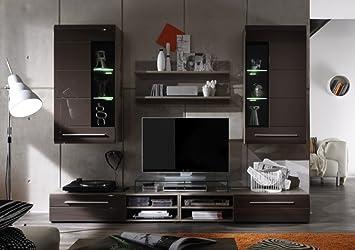 Led Wohnwand Braun Hochglanz Mit Beleuchtung Amazonde Küche