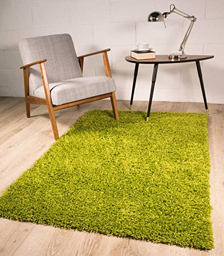 Thick Soft Thick Warm Luxury Green Shaggy Shag Area Rug 3'7″ x 5'3″