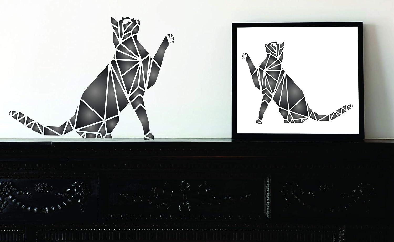 15.24 x 11.43 cm S Cat Stencil - Geometric Decor Pet Animal Stencils