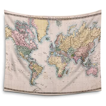 Amazon mugod original old hand coloured map world wall tapestry mugod original old hand coloured map world wall tapestry hanging polyester fabric wall art tapestries gumiabroncs Images