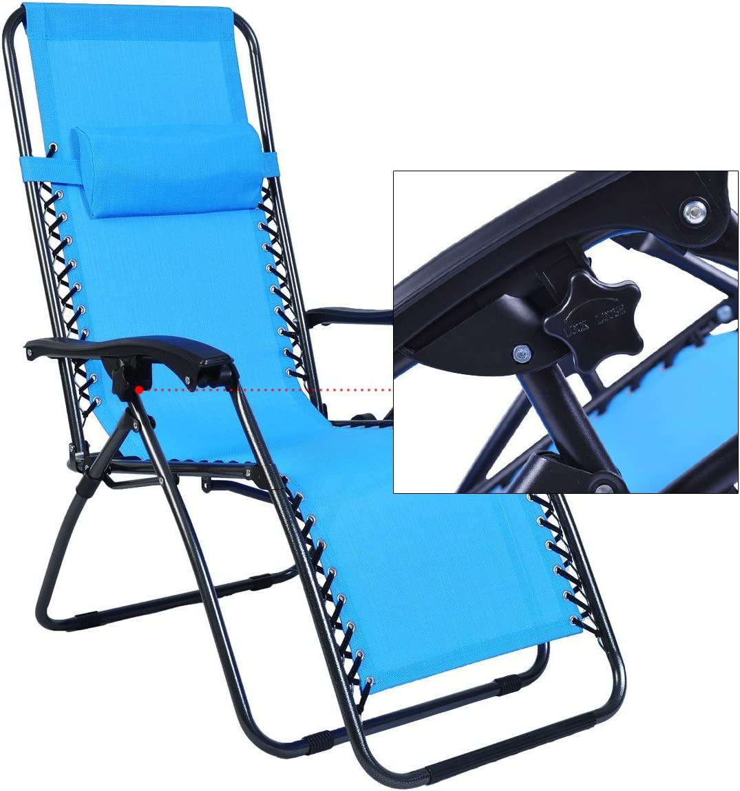 Odaof Zero Gravity Chair Light Blue Set of 2