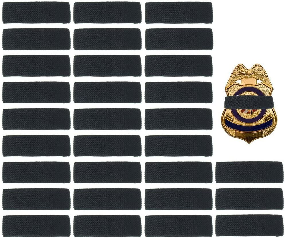 """30 Pack Black Police Mourning Band Stripe Police Officer Badge Shield Funeral Honor Guard Straps, 1/2"""""""