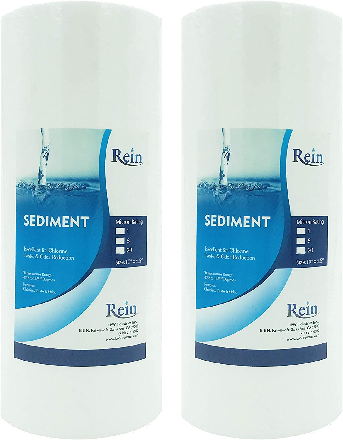 2-Pack of 1 Micron 10 Big Blue Sediment Water Filter Replacement Cartridge GXWH30C Whole House Sediment Filtration HD-950 GXWH35F WFHD13001B HF45-10BLBK10PR Compatible with W15-PR