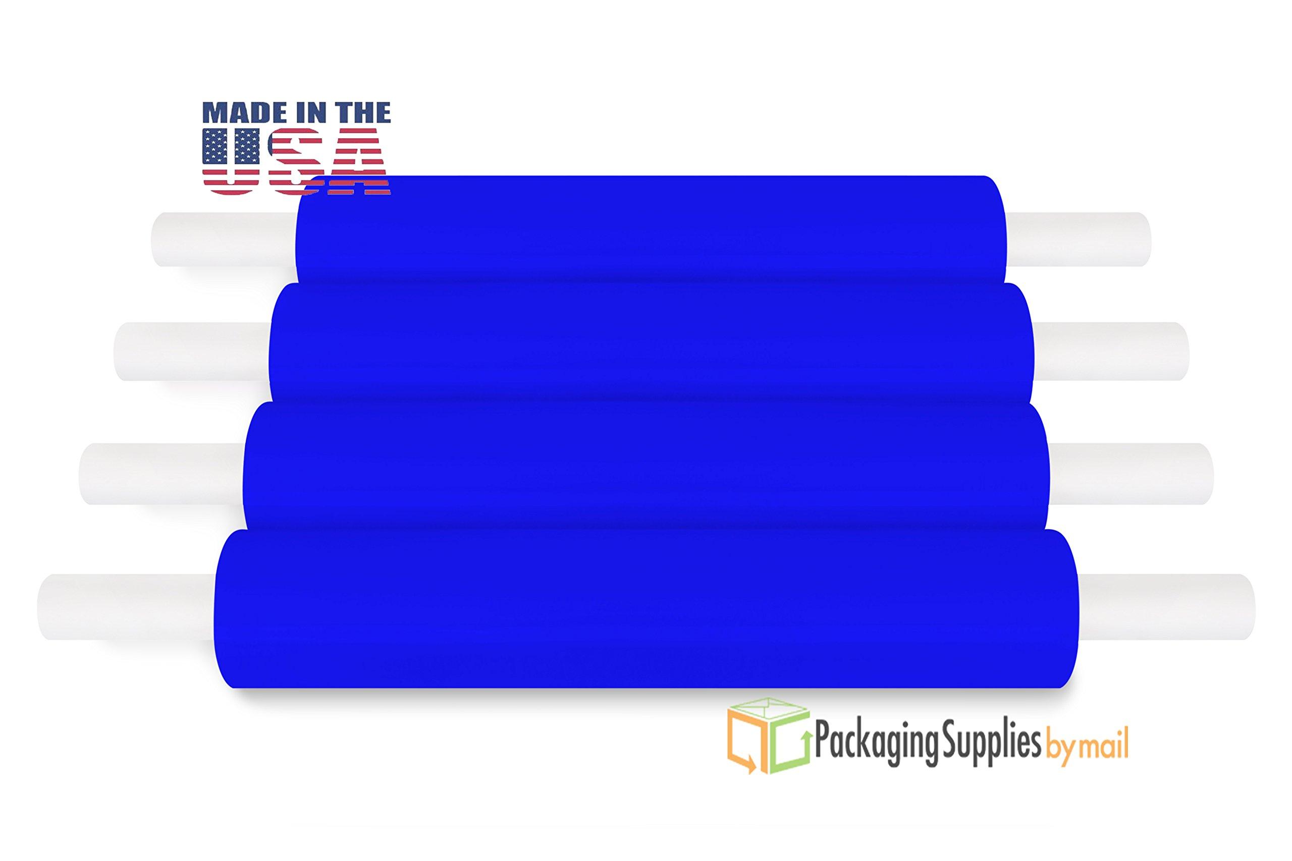 4 Rolls Blue Hand Pallet Wrap Plastic Stretch Wrap 20'' 1000 Feet 80 Ga