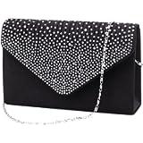 U-Story Women's Rhinestone Satin Frosted Evening Wedding Clutch Bag Handbag Purse (Black)