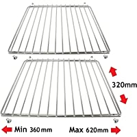 Spares2go Chrome Adjustable Universal Fixed Arm Grill Shelf for all Makes of Oven Cooker & Grill (Pack of 2, 320mm x 360 / 620mm)