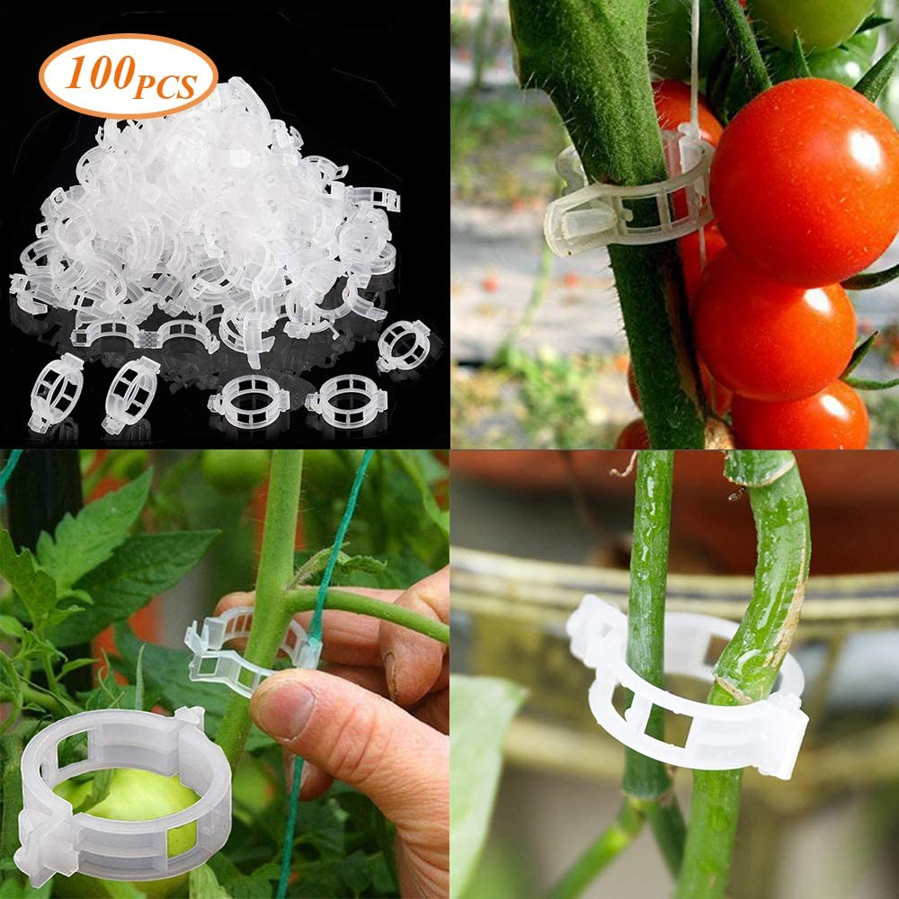 Shelf Support Clips,Hanging Clips,Clips Supports Connects Plants Vines Trellis Twine Cages,For Securing Plants to Plant Supports LIBRNTY 100Pcs Garden Plant Clips Flower Clip