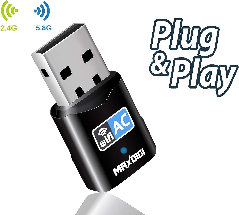 MAXDIGI Dongle Wifi, AC600 802.11ac de doble banda 5 GHz Mini red inalámbrica USB WiFi adaptador para PC computadora portátil de escritorio, compatible con Windows 10/8/7/Vista/XP, Mac OS X 10.6-10.14