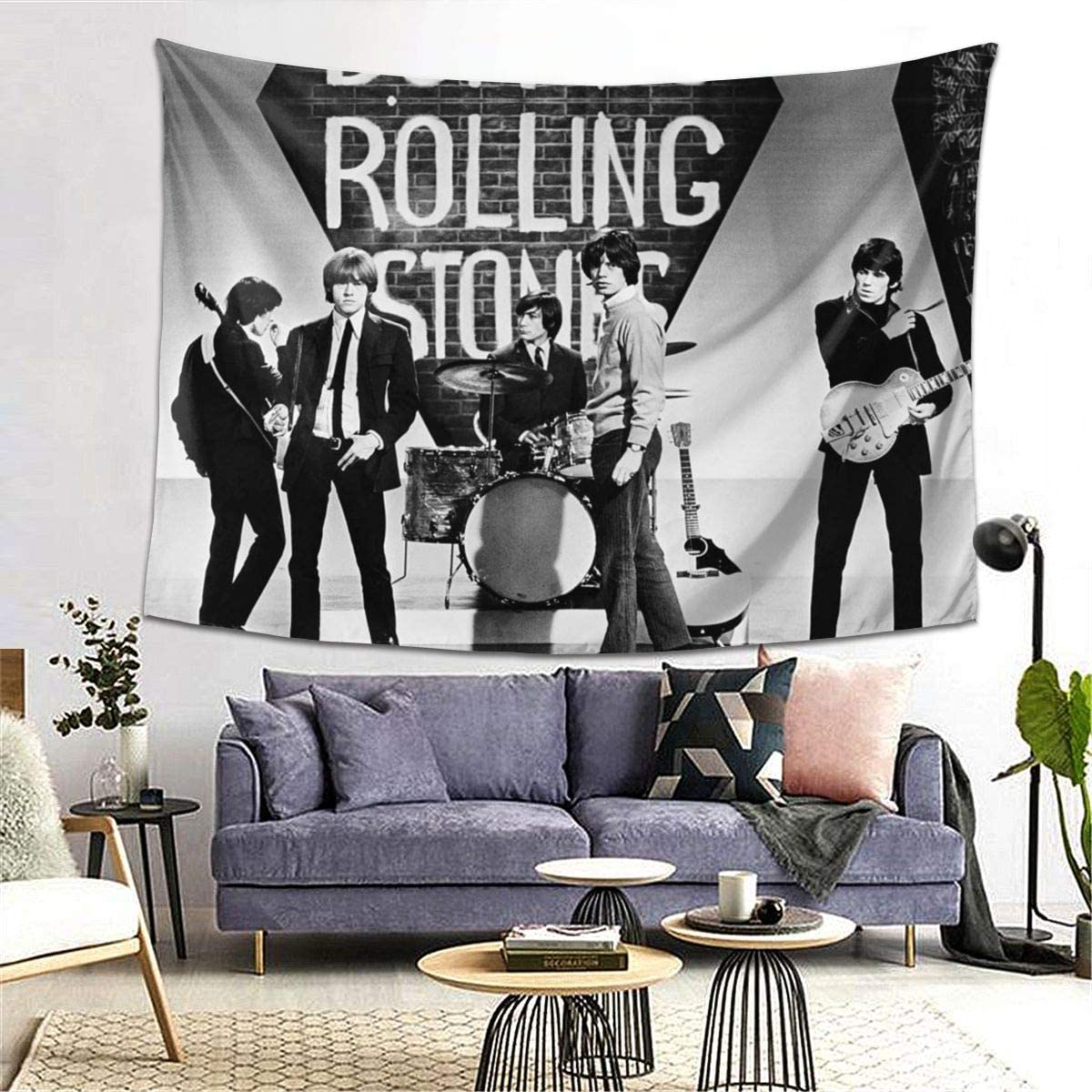 Large Vintage Rock Band Wall Tapestry Stones Hanging Poster Music Tapestries Art Decoration for Office Living Room Bedroom Dorm, 80×60 Inches Grey