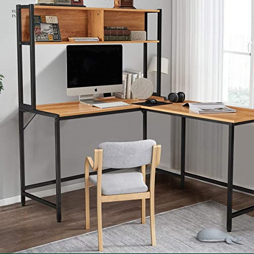 YOLENY 55 Inch L-Shaped Computer Desk