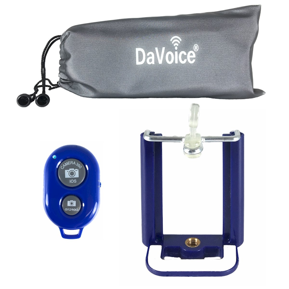 DaVoice Cell Phone Tripod Mount Adapter Holder + Bluetooth Remote Control + Carry Bag for iPhone X Se 8 7 6 6s Plus 5 5s 5c Samsung Galaxy S9 S8 S7 S6 S5 Edge Universal Bracket Attachment (Navy Blue)
