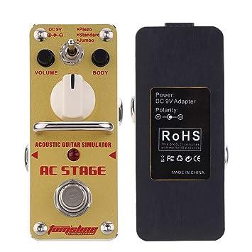 ammoon AROMA AAS-3 AC Etapas Simulador de Guitarra Acústica Mini Solo de la Guitarra Eléctrica Pedal de Efecto con True Bypass: Amazon.es: Instrumentos ...
