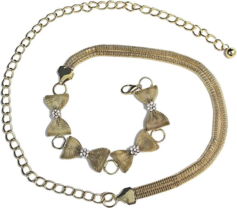 Gold Mesh Rhinestone Bow Tie Chain Belt at Amazon Women s Clothing store  1aac29824d4a