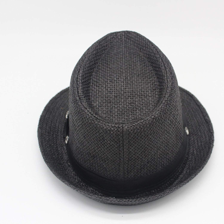 Men Women Children Summer Paper Straw Hat with 7 Heart-Shaped Diamond Trilby Gangster Cap Beach Sun Hats